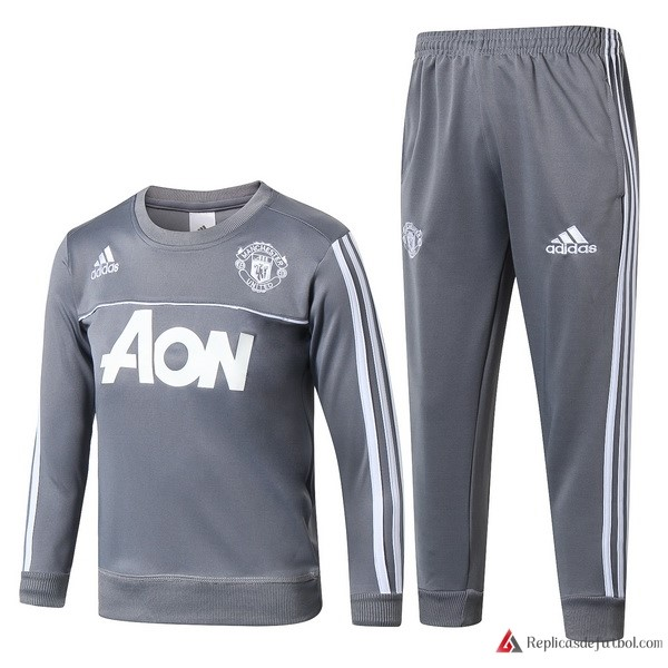 Chandal Manchester United Niño 2017-2018 Gris